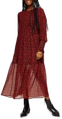 Topshop Paisley Pintuck Midi Dress