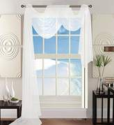 """Elegant Comfort Luxury 60 x 216"""" Solid Curtain Sheer Voile Scarf, White"""