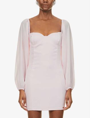 O'dolls Puff-sleeve woven mini dress