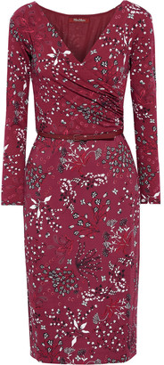 Max Mara Lepido Wrap-effect Belted Printed Stretch-jersey Dress
