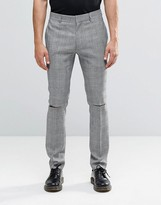 Religion Skinny Suit Trousers In Prince Of Wales Check With Ripped Knees