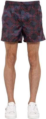 Valentino GREED CAMO PRINT NYLON SWIM SHORTS