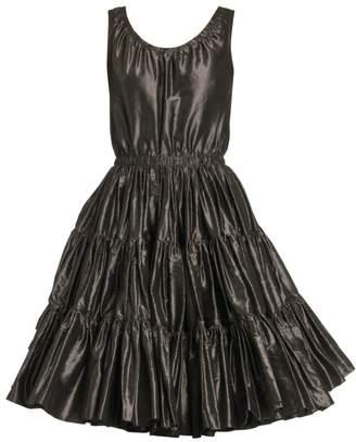Miu Miu Sleeveless Tiered Silk Taffeta Dress