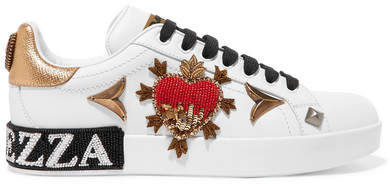 Dolce & Gabbana Appliquéd Embellished Leather Sneakers - White