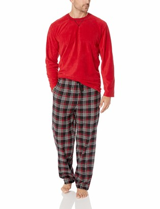 Izod Men's Yarn-dye Flannel Pant & Microfleece Crew Top Pajama Set