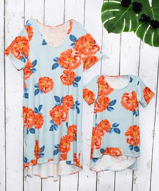 Beary Basics Girls' Tunics LIGHT - Light Blue & Orange Roses Shift Dress - Toddler, Girls, Women & Plus