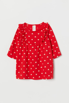 H&M Ruffle-trimmed Jersey Dress - Red