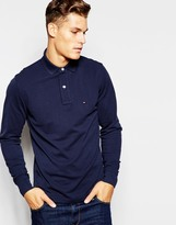 Tommy Hilfiger Long Sleeve Polo With Contrast Under Collar Regular Fit Navy - Blue