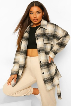 boohoo Plus Oversized Boyfriend Check Shacket