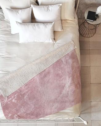 Express Deny Designs Pink Marble Fleece Throw Blanket