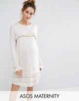 Asos Dress With Ruffle And Fluted Sleeve
