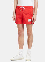 Thom Browne Men's Striped Grosgrain Trimmed Swim Shorts in Red