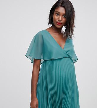 ASOS DESIGN Maternity flutter sleeve mini dress with pleat skirt