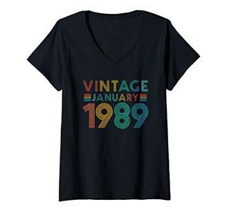 Womens 30th Birthday Gift Vintage January 1989 Thirty Years Old V-Neck T-Shirt