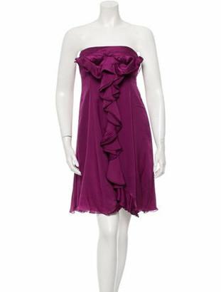 Saint Laurent Strapless Silk Dress Violet