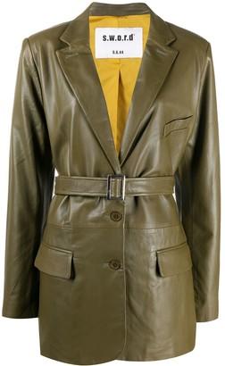 S.W.O.R.D 6.6.44 Lambskin Belted-Waist Jacket