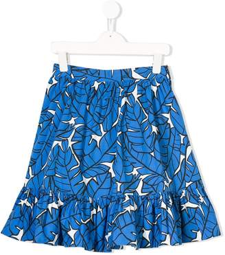 MSGM Kids leaf print ruffled skirt