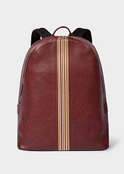 Paul Smith Men's Brick Red Leather Signature Stripe Backpack