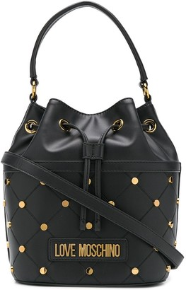 Love Moschino Quilted Stud Bucket Bag