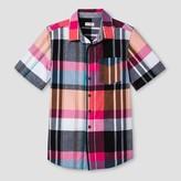 Cat & Jack Boys' Short Sleeve Woven Button Down Shirt - Cat & Jack Pink