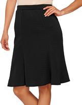 George Simonton Black Textured Flounce Pencil Skirt