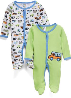 Sweet & Soft Boys' Footies Green - Green, Blue & White Automobile Footie Set - Newborn