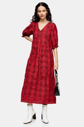 Topshop Red Seersucker Check Midi Dress