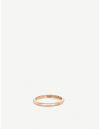 De Beers Women's Pink Classic Pink-Gold And Diamond Wedding Band, Size: 55mm