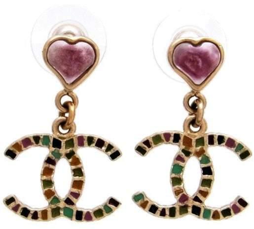 Chanel Gold Tone Metal Multicolor CC Logo Dangle Stud Earrings