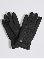 M&S Collection Faux Leather Quilted Popper Gloves