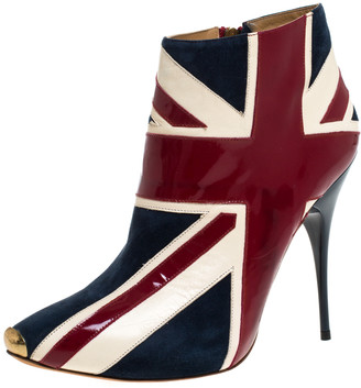 Alexander McQueen Tri Color Suede and Patent Leather Union Jack Ankle Boots Size 40