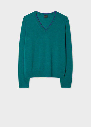 Women's Teal Marl V-Neck Sweater