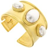 Kenneth Jay Lane Satin Gold Plated & Pearl Bangle
