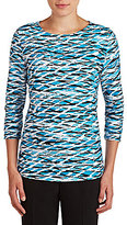 Allison Daley Wide Crew Neck 3/4 Sleeve Wave Print Knit Top