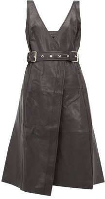Proenza Schouler Belted V-neck Leather Wrap Dress - Black