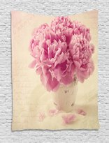 Shabby Chic Decor Tapestry by Ambesonne, Peonies in a Vase Fallen Petals Springtime Vintage Hand Letters, Wall Hanging for Bedroom Living Room Dorm, 40 W X 60 L Inches, Peach Light Pink