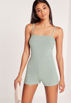 Missguided Ribbed 90's Neck Romper Duck Egg Blue