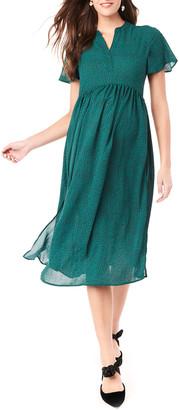 Loyal Hana Maternity Lily Printed Flutter-Sleeve Midi Dress