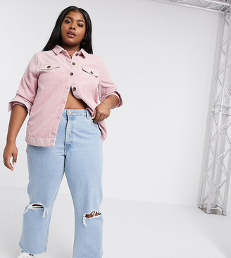 Asos DESIGN Curve Recycled Florence authentic straight leg jeans in bright lightwash blue with rips and raw hem