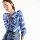 J.Crew Striped button-up shirt with ruffles