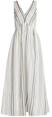 Brunello Cucinelli Sleeveless Pleated Striped Maxi Dress