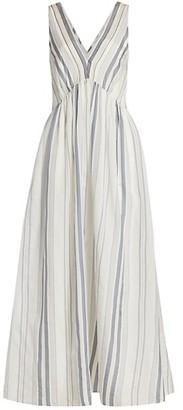 Brunello Cucinelli Sleeveless Pleated Striped Maxi Dress