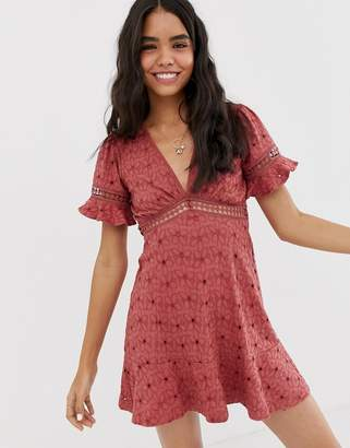 Asos Design DESIGN broderie tea dress with woven ladder trim-Pink