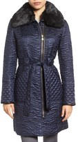 Via Spiga Women's Paisley Quilted Coat With Faux Fur Collar