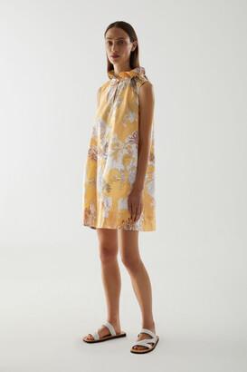 Cos Light Cotton Ruched Neck Dress