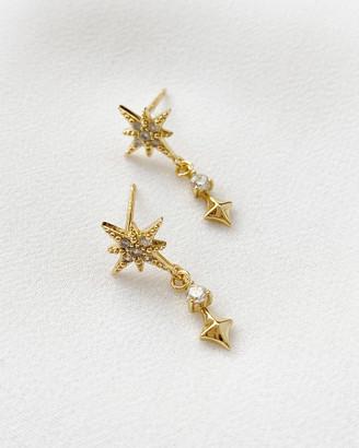 Wanderlust + Co Midnight Stud Gold Earrings