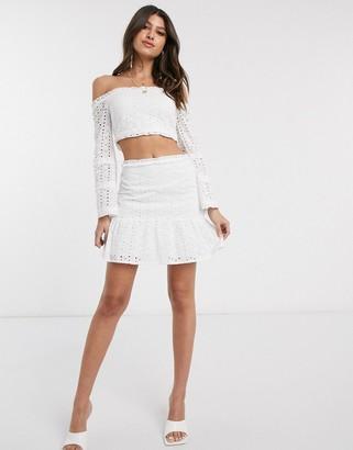 Parisian flippy hem broderie mini skirt in white