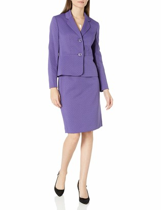 Le Suit LeSuit Women's Crossdye Weave 2 Button Notch Lapel Skirt