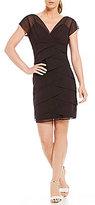 Marina Cap-Sleeve Multi-Tiered Chiffon Dress