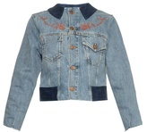 Aries Cat and rose-embroidery denim jacket